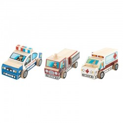 Set 3 masinute din lemn de construit si pictat Rescue Vehicles Cars (DIY)