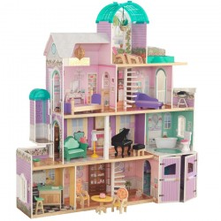 Casuta de papusi din lemn Rose Wood Mansion Dollhouse EZ Kraft Assembly cu piscina cu apa Kidkraft