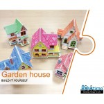 Flying House - casuta din lemn de pictat puzzle 3D