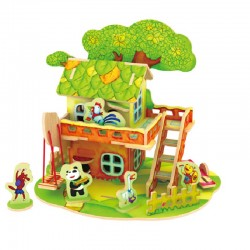 Pipi & Yaya Forest Cabin - Puzzle 3D din lemn
