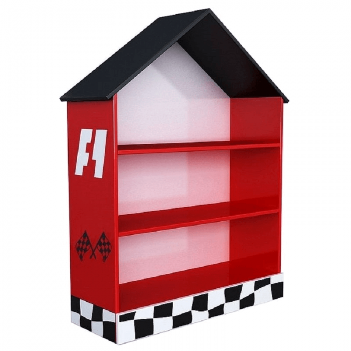 Biblioteca Race Cars casuta rosie - Premium MDF Ultra High Gloss