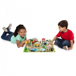 Set de joaca Orase  cu masinute si cladiri din lemn Deluxe Wooden Town Vehicle Play Set 38 Pieces Melisa and Doug