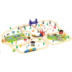 Set Trenulet Wooden Train 140 piese
