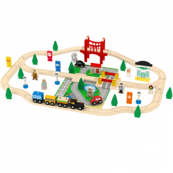 Set trenulet Wooden Train 70 piese