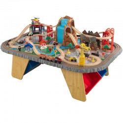 Set trenulet  Waterfall Junction KidKraft cu masa de joaca din lemn