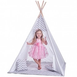 Cort mare copii stil indian Teepee White Grey Stars, XXL, alb-gri, include covoras / salteluta si perne